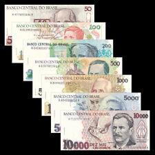 Brazil Set 7 PCS, 50 100 200 500 1000 5000 10000 Cruzeiros, UNC
