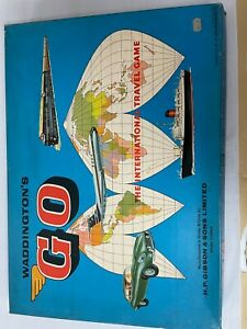 Vintage Waddington's GO board game. The international travel game. 1961