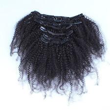 "16""Clip In Human Hair Extensions Brazilian Virgin Kinky Curly Full Head Set 100g"