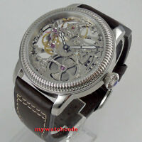 PARNIS 44mm skeleton dial Mechanical hand winding 6497 movement mens watch P1234
