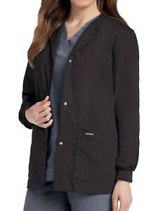 Landau Women's Snap Front Warm-up Scrub Jacket, Black, 5XL