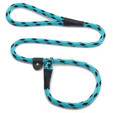 "Dog Leash - Mendota - British Style Slip Lead - 1/2"" x 6' - Black Ice Turquoise"