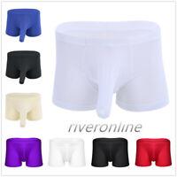 Sexy Mens Ice Silk Boxer Briefs Shorts Bulge Pouch Underwear Briefs Underpants