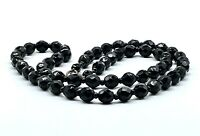 Vintage Faceted Black Jet Glass Bead Necklace 23 Inches