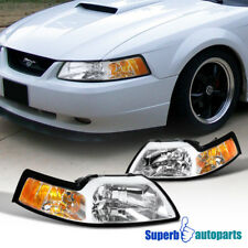 1999-2004 Ford Mustang V6 GT Head Lights W/Corner Lamps Clear
