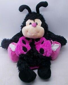 Happy Napper LadyBug Sweet Home Plush Travel Pillow Nap Pink Black (No Sound)