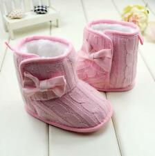 Newborn Baby Girls Bow Soft Sole Winter Warm Snow Boots Fur Crib Shoes Prewalker