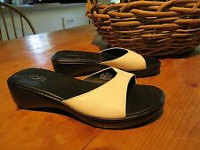 Ann Taylor Loft white leather and black wedge slides sandals  *7.5 - 8 M