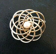 Vintage GOLD TONE SWIRL PIN FAUX PEARL Brooch 1 1/2""