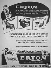 PUBLICITÉ 1953 ERTON VOUS PRÉSENTE LA GAMME FLEXTON FAUTEUIL CLUB DUNLOPILLO
