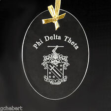 Phi Delta Theta, ΦΔΘ, Ornament/Sun Catcher Name & Crest Beveled Crystal Oval