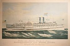 Currier & Ives Massachusetts and Rhode Island Steamships, Large & Beautiful!