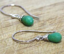 Natural Chrysoprase Briolette Earrings in Solid Sterling Silver Wire Wrapped