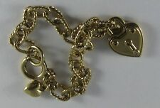 Juicy Couture Gold Starter Heart Locket Charm Bracelet YJRUOB16 EUC
