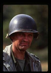 MASH Alan Alda portrait wearing helmet Original 35mm Transparency stamped mount