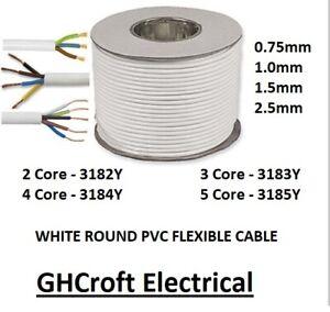 3183Y 13 AMP Cable White Round Mains Wire Flex 1.5mm 3 Core Per Meter - MULTIBUY