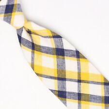 John G Hardy Mens Linen Necktie Bright Yellow White Gray Plaid Woven Tie Italy