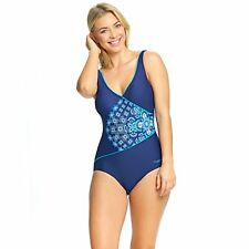 Zoggs Women Craftwork Wrap Front Swimming Costume Blue Chlorine Resistant