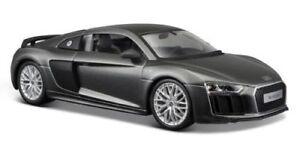 Maisto 1:24 Audi R8 V10 Plus Gray Diecast Model Racing Car Vehicle NEW IN BOX