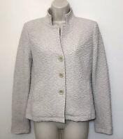 Eileen Fisher PP Jacket Beige Textured High Neck Lined Stretch Button Blazer
