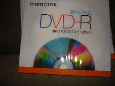 MEMOREX DVD- R 2 PACK  16X 4.7GB 120MINS LOT OF 4