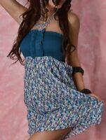 SeXy Miss Damen Bandeau Mini Kleid Sommer Flower geblümt XS-S blau bunt NEU Top