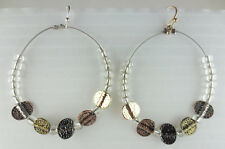 Glass Bead Hoop Earrings Dangling Hammered Silver/Copper/Goldtone Rounds Crystal