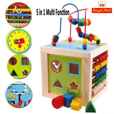 5 in 1 Wooden Activity Cube Kids Educational Multipurpose Baby Learning Toys New
