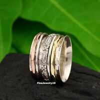 925 Sterling Silver Spinner Ring Band Meditation Statement Handmade Jewelry A96