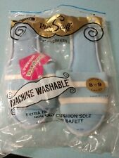 Vintage Ladies Nos 1980s Slippers Play Scuffs PlayTimers Open Toe blue 8-9