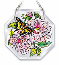 """Peonies Sun Catcher Amia 4.5"""" High Beveled Peony Flowers Octagon Butterfly"""
