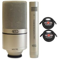 MXL 990/991 Recording Condenser Instrument Microphone Package + 10ft XLR Cables