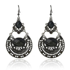 Ladies Bohemian Style Chandelier Earrings - Tibetan Silver and Black Gems