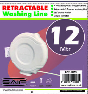 12M Retractable Automatic Clothes Washing Line Reel Wall Mounted Indoor Outdoor