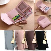 Women Mini Tassel Wallet Card Holder Clutch Coin Purse Leather Handbag Purse