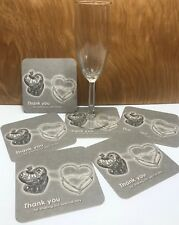 100 Double Silver Heart Coasters 4 gift, favor, wedding