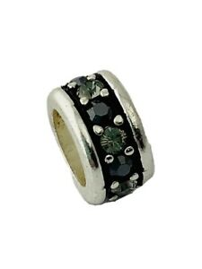 Authentic Brighton Crystal Voyage Spacer, J9560F Silver/Hematite Crystals, New