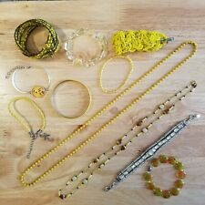 11 Piece All Yellow Jewelry Lot, vintage to modern necklaces and bracelets