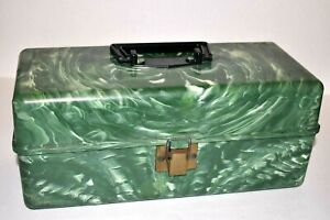 """Vintage Green Marbled  Two Tray Tackle Box 12 X 5 X 5"""""""