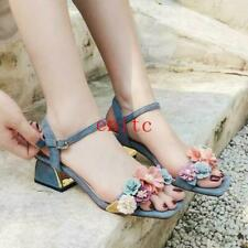 Womens Open Toe Flower Sandals Ankle Strap Suede Leathe Slingback Cuban Heels