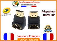 Adaptateur HDMI FULL HD coudé angle 90° mâle femelle connecteur coupleur TV
