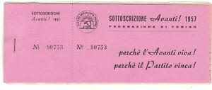 LIBRETTO PARTITO SOCIALISTA ITALIANO -1957 SOTTOSCRIZIONE AL GIORNALE AVANTI