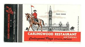 Carlingwood Restaurant Ottawa Ontario Canada Vintage Matchbook Cover FM9