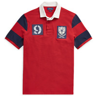 Mens Polo Ralph Lauren Classic Fit Mesh Rugby Patchwork Shirt Red Sizes L XL