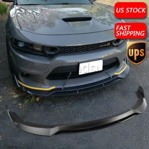 Matte Black Fits Dodge Charger SRT 15-21 V2 Style Front Bumper Lip Splitter USA