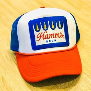 HAMM'S Beer Embroidered Patch Hat Cap American Mesh Trucker Hamms Foam