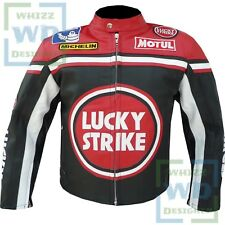 Lucky Strike 0113 Red Leather Coat Moto Racer Motorbike Motorcycle Armour Jacket