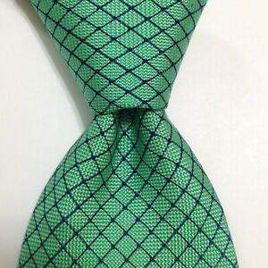 DUNHILL Men's 100% Silk Necktie ITALY Designer PLAIDS & CHECKS Green/Blue EUC