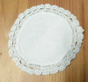 4 Inch 100% Cotton Linen Center Doilie Lace White Embroidery Round New