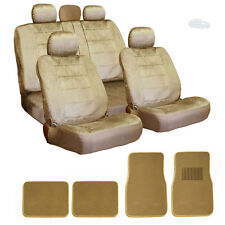 PREMIUM GRADE BEIGE VELOUR FABRIC CAR SEAT COVERS AND MATS SET FOR NISSAN